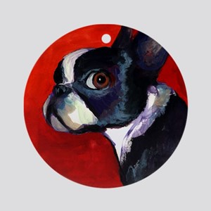 Boston Terrier dog #5 - Ornament (Round)