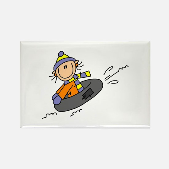 Snow Tubing Rectangle Magnet