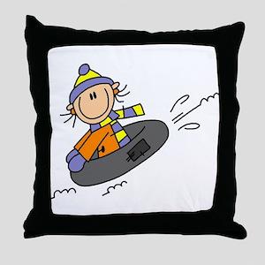 Snow Tubing Throw Pillow