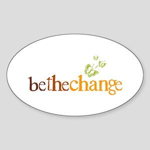 Be the change - Earthy - Butterflys Oval Sticker