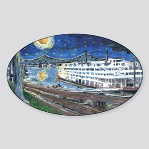 Starry Night Riverboat Oval Sticker