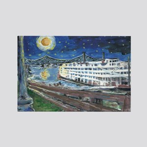 Starry Night Riverboat Rectangle Magnet