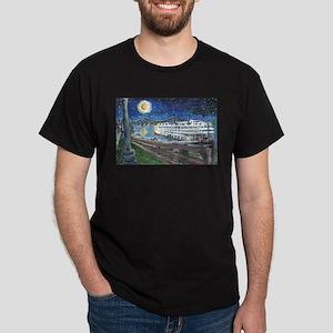 Starry Night Riverboat Dark T-Shirt