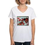 Audrey in Poppies Women's V-Neck T-Shirt