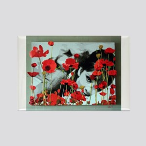 Audrey in Poppies Rectangle Magnet