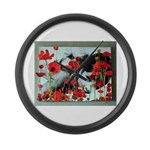 Audrey in Poppies Large Wall Clock