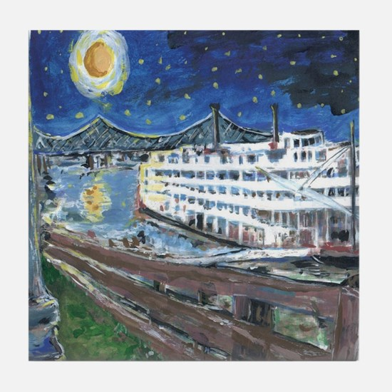 Starry Night Riverboat Tile Coaster