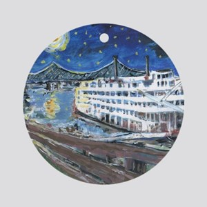 Starry Night Riverboat Ornament (Round)