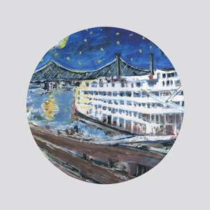 "Starry Night Riverboat 3.5"" Button"