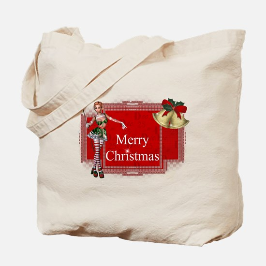Merry Christmas Elf with Bell Tote Bag