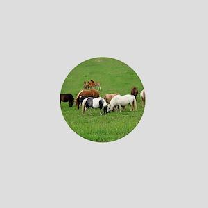 Mini Horses in Pasture Mini Button