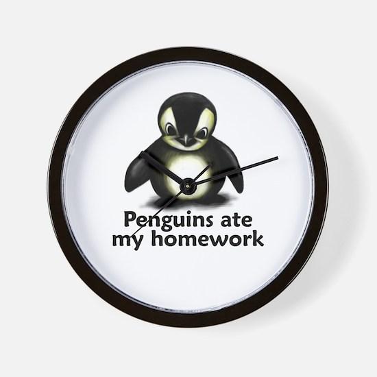 Penguins ate my homework Wall Clock