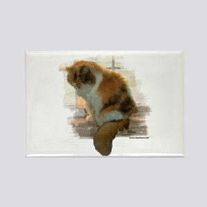 Window Calico Cat Rectangle Magnet
