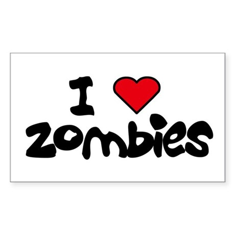 I LOVE ZOMBIES Rectangle Sticker