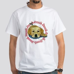 Holly Lab Pup Xmas White T-Shirt