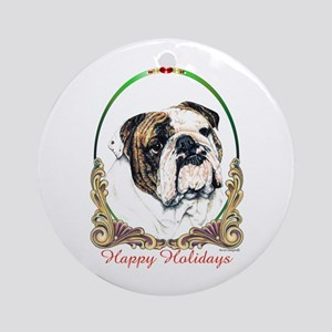 Bulldog Breed Holiday Round Ornament