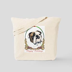 Bulldog Happy Holiday Tote Bag
