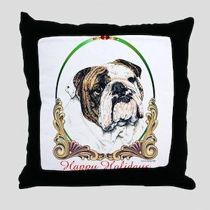 Bulldog Happy Holiday Throw Pillow