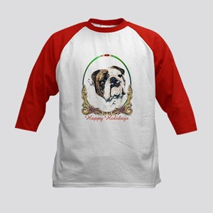 Bulldog Happy Holiday Kids Baseball Jersey