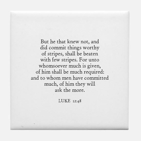 LUKE  12:48 Tile Coaster