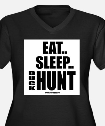 Eat Sleep Duck Hunt Women's Plus Size V-Neck Dark