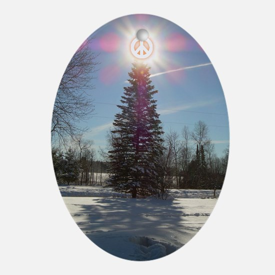 Christmas Peace Oval Ornament