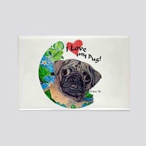 Emmet the Pug Rectangle Magnet