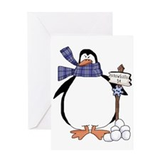 Penguin - Snowballs 5cents Greeting Card