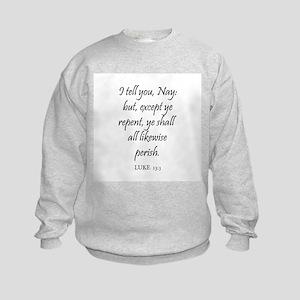 LUKE  13:3 Kids Sweatshirt