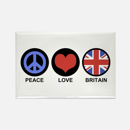 Peace Love Britain Rectangle Magnet
