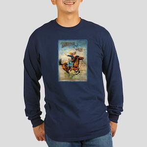 Vintage Cowgirl Roping Long Sleeve Dark T-Shirt