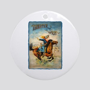 Vintage Cowgirl Roping Ornament (Round)