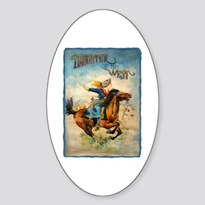 Vintage Cowgirl Roping Oval Sticker