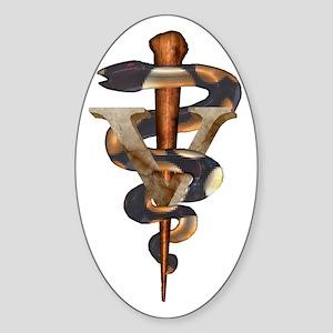 Veterinary Caduceus Oval Sticker