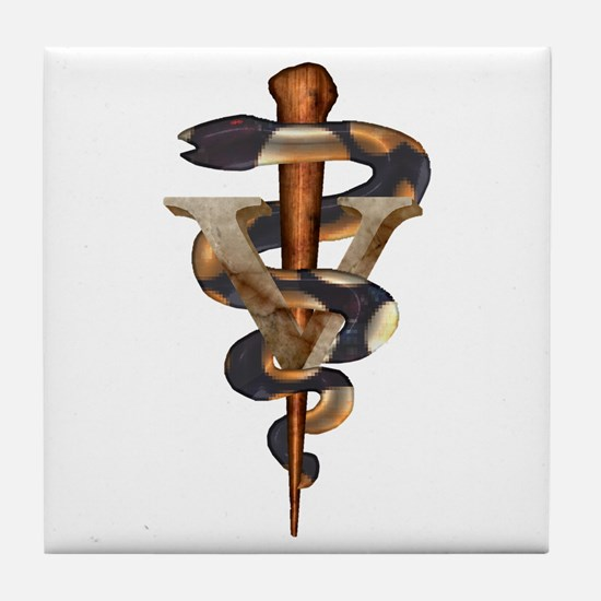 Veterinary Caduceus Tile Coaster