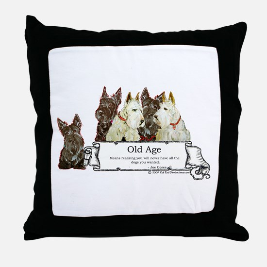 Old Age Scottish Terriers Throw Pillow
