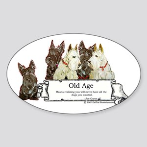 Old Age Scottish Terriers Oval Sticker