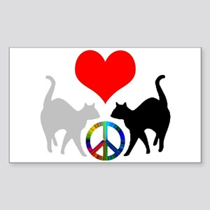 Love & peace Rectangle Sticker
