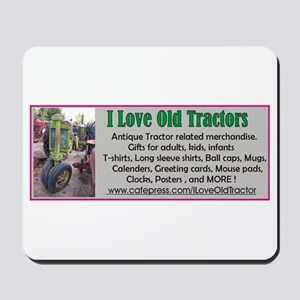 I Love Old Tractors logo Mousepad