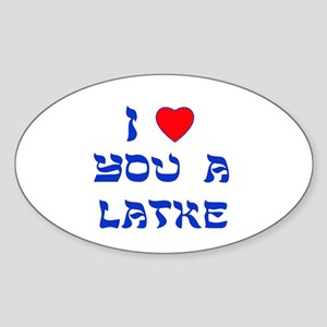 I Love You a Latke Oval Sticker (10 pk)