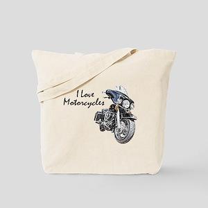 I Love Motorcycles Tote Bag