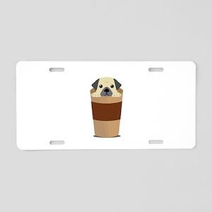 Coffee and Pugs Pet Dog Lov Aluminum License Plate