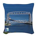 Duluth Aerial Lift Bridge Woven Throw Pillow