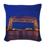Duluth Aerial Lift Bridge & Woven Throw Pillow
