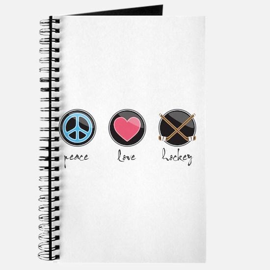 Cute Peace love hockey Journal