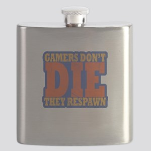 Gamers Don't Die They Respawn Distressed Flask