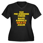Make America Women's Plus Size V-Neck Dark T-Shirt