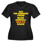 Make America Women's Plus Size V-Neck Dark T-Shirt