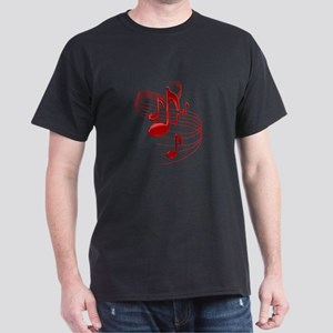 Red Flowing Music Notes T-Shirt