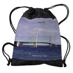 Mackinac Bridge From Mackinaw City Drawstring Bag